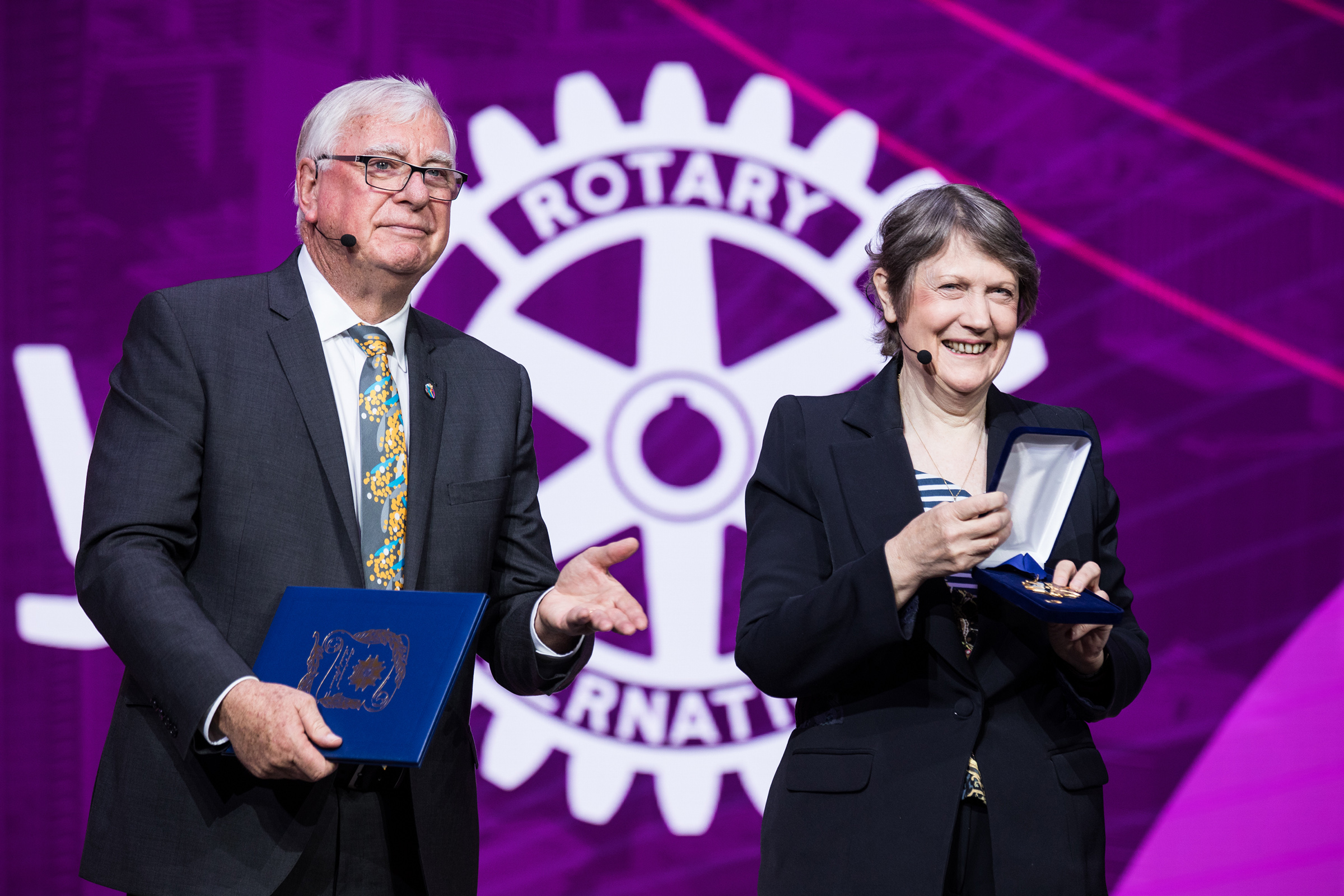 RI President Ian HS Riseley Presents Helen Clark The Former Prime Minister Of New Zealand With A Rotary International Award Honor